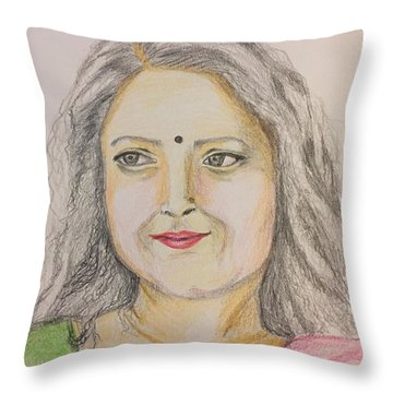 Portrait With Colorpencils 2 Throw Pillow