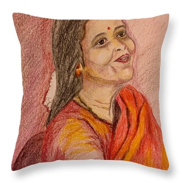Portrait With Colorpencils Throw Pillow