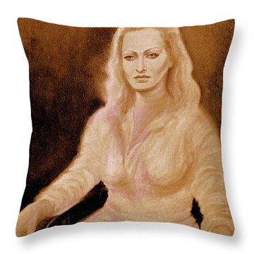 Portrait Woman In Bright Dress Throw Pillow