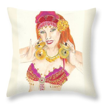 Portrait Of The Artist Playing Zills -- Belly Dancer Self-portrait Throw Pillow