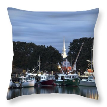 Portsmouth Fish Pier Throw Pillow