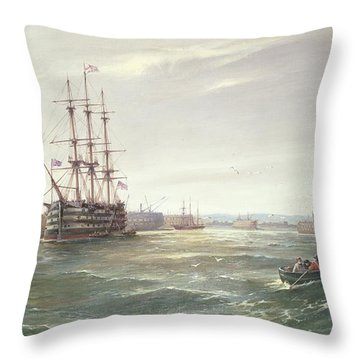 Portsmouth Harbour With Hms Victory Throw Pillow by Robert Ernest Roe