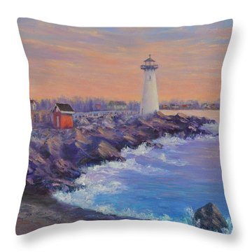 Portsmouth Lighthouse Sunset Peaceful  Coastal Painting Throw Pillow