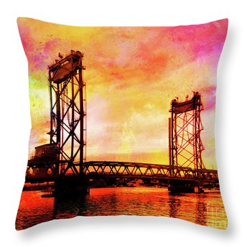 Portsmouth Memorial Bridge Abstract At Sunset Throw Pillow