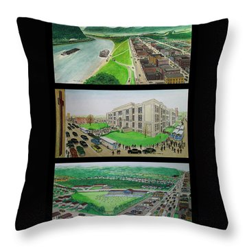Portsmouth Ohio 1955 Throw Pillow by Frank Hunter