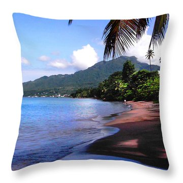 Portsmouth Shore On Dominica Filtered Throw Pillow