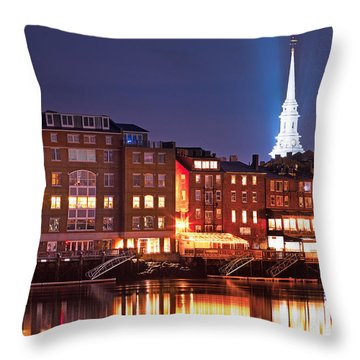 Portsmouth Waterfront At Night Throw Pillow