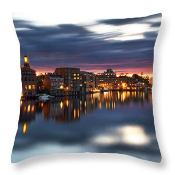 Portsmouth Waterfront Panorama Throw Pillow