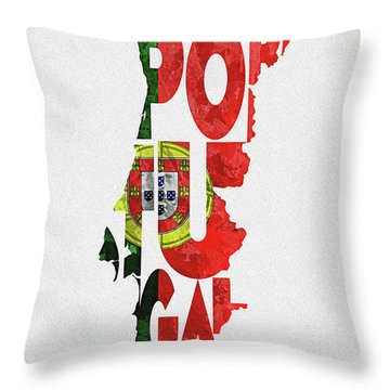 Portugal Typographic Map Flag Throw Pillow