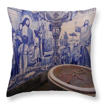 Portuguese Azulejo Mural Throw Pillow by Gaspar Avila