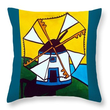 Portuguese Singing Windmill By Dora Hathazi Mendes Throw Pillow
