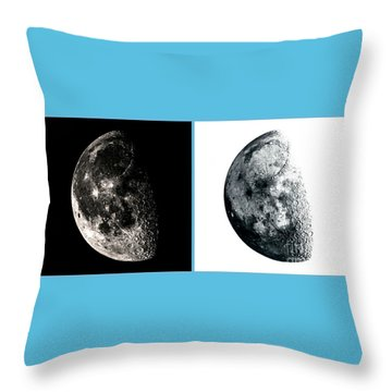 Pos-neg Moon Throw Pillow