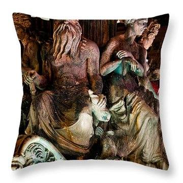 Poseidon And Friends Throw Pillow by Christopher Holmes