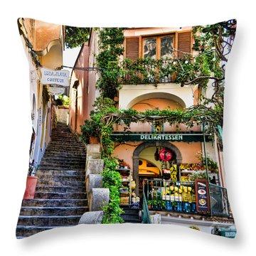 Positano Shopping Throw Pillow by Jon Berghoff