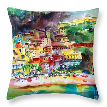 Amalfi Coast Positano Summer Fun Watercolor Painting Throw Pillow