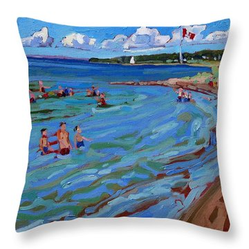 Positively Buoyant Beach People Throw Pillow by Phil Chadwick