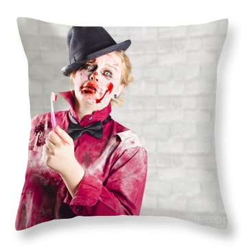 Possessed Girl With Bloody Toothbrush. Gum Disease Throw Pillow