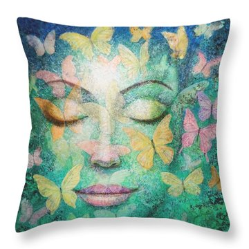Throw Pillow featuring the painting Possibilities Meditation by Sue Halstenberg