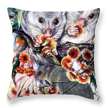 Possum Family Throw Pillow