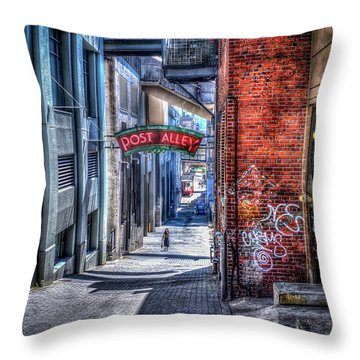 Post Alley Straggler Throw Pillow by Spencer McDonald
