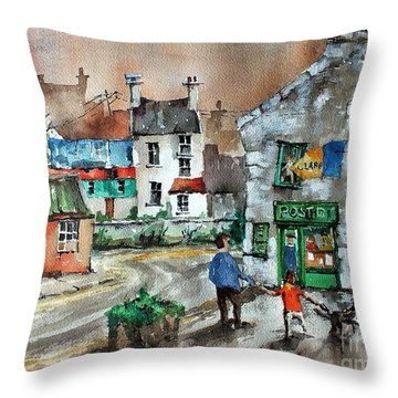 Post Office Mural In Ennistymon Clare Throw Pillow