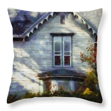 Throw Pillow featuring the photograph Postage Due - Farmhouse Window by Janine Riley