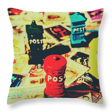 Throw Pillow featuring the photograph Postage Pop Art by Jorgo Photography - Wall Art Gallery