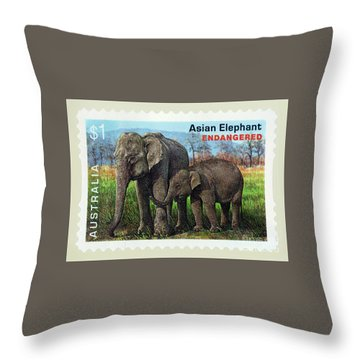 Throw Pillow featuring the photograph Postage Stamp - Asian Elephant By Kaye Menner by Kaye Menner