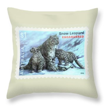 Throw Pillow featuring the photograph Postage Stamp - Snow Leopard By Kaye Menner by Kaye Menner