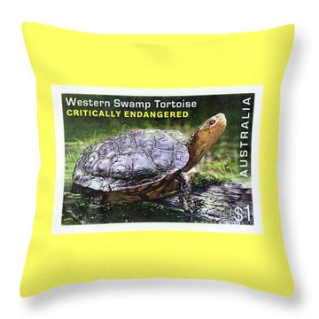 Throw Pillow featuring the photograph Postage Stamp - Western Swamp Tortoise By Kaye Menner by Kaye Menner