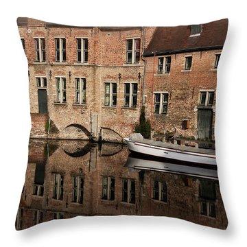 Postcard Canal II Throw Pillow by Joan Carroll