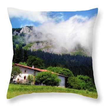 Postcard From Basque Country Throw Pillow