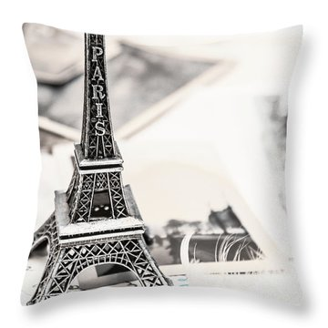 Postcards And Letters From Paris Throw Pillow