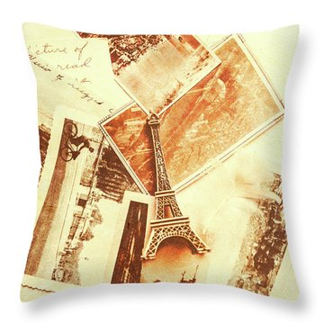 Postcards And Letters From The City Of Love Throw Pillow
