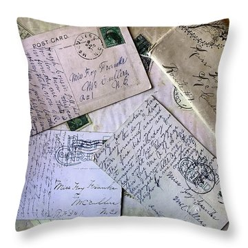 Throw Pillow featuring the digital art Postcards And Proposals by Gina Harrison