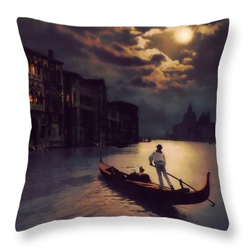 Postcards From Venice - The Red Gondola Throw Pillow