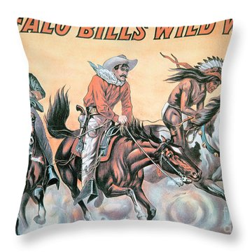 Poster For Buffalo Bill's Wild West Show Throw Pillow