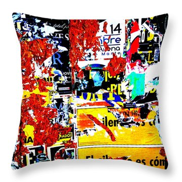 Poster Wall In Santiago  Throw Pillow