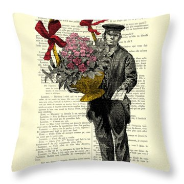 Postman Delivering Bouquet Of Flowers Throw Pillow