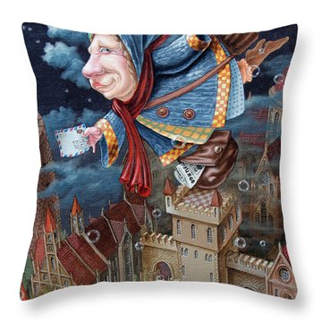 Postwoman Throw Pillow