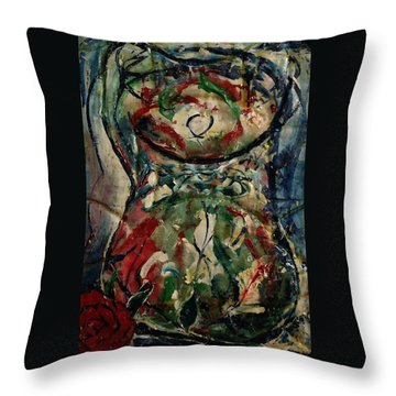 Potpourri Vase With Rose Throw Pillow