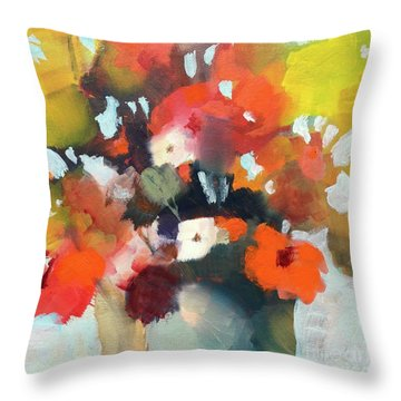 Pot Of Flowers Throw Pillow