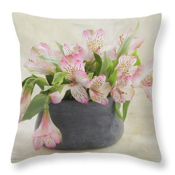 Throw Pillow featuring the photograph Pot Of Pink Alstroemeria by Kim Hojnacki