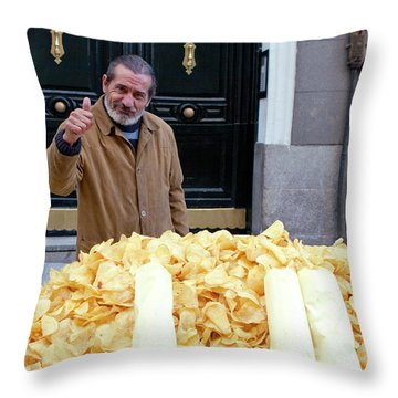 Potato Chip Man Throw Pillow by Lorraine Devon Wilke