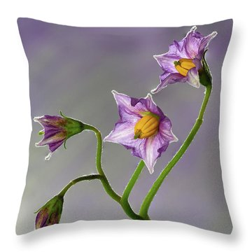 Potato Flowers Throw Pillow
