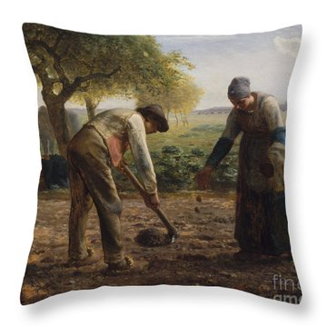 Potato Planters Throw Pillow