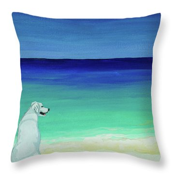 Lab Potcake Dogs On The Beach Throw Pillow