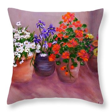 Pots Of Flowers Throw Pillow