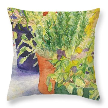 Throw Pillow featuring the painting Potted Beauties  by Vicki  Housel