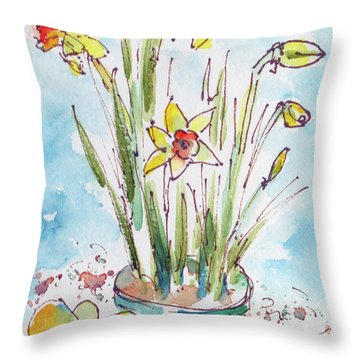 Throw Pillow featuring the painting Potted Daffodils by Pat Katz